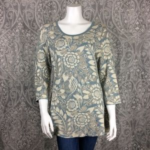 Peruvian Connection Floral Pima Tunic Sweater